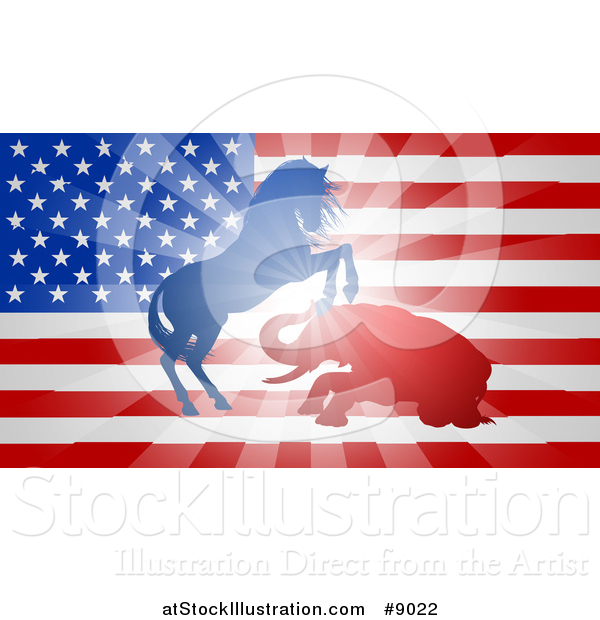 Vector Illustration of a Silhouetted Political Aggressive Democratic Donkey or Horse and Republican Elephant Fighting over a USA Flag
