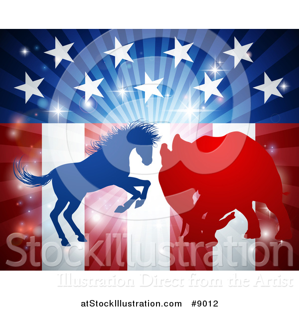 Vector Illustration of a Silhouetted Political Aggressive Democratic Donkey or Horse and Republican Elephant Fighting over American Stars and Stripes and a Burst