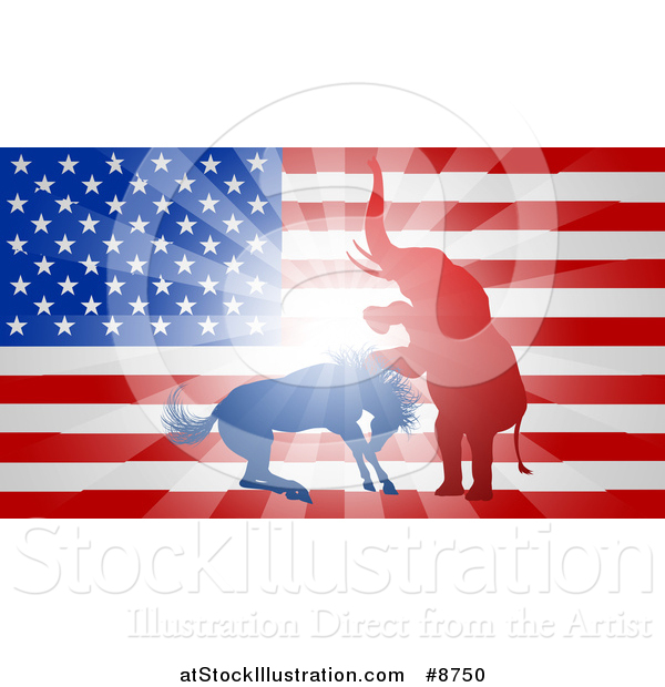 Vector Illustration of a Silhouetted Political Aggressive Democratic Donkey or Horse and Republican Elephant Fighting over an American Flag and Burst