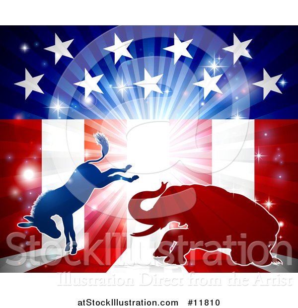 Vector Illustration of a Silhouetted Political Democratic Donkey and Republican Elephant Fighting over an American Design and Burst