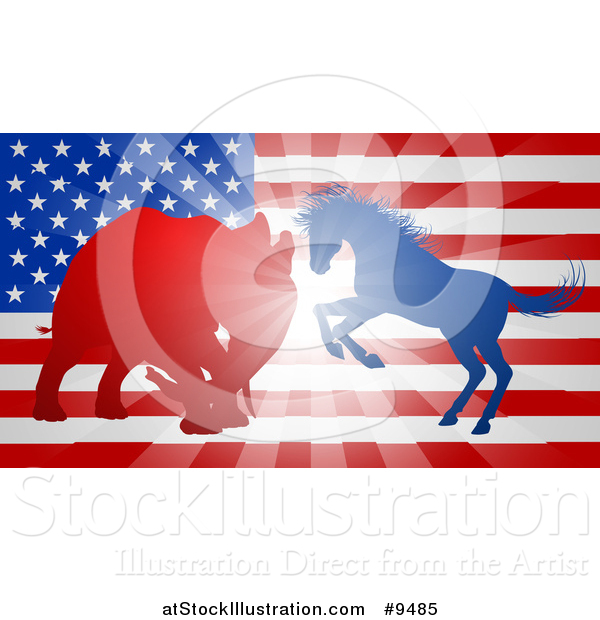 Vector Illustration of a Silhouetted Political Democratic Donkey or Horse and Republican Elephant Battling over an American Flag and Burst