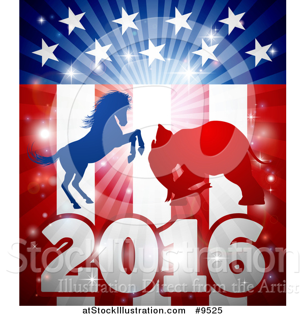 Vector Illustration of a Silhouetted Political Democratic Donkey or Horse and Republican Elephant Fighting over an American 2016 Design and Burst