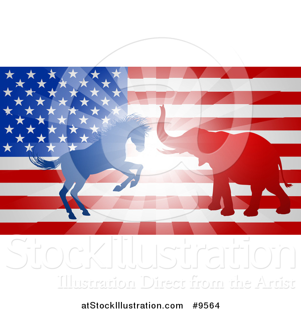 Vector Illustration of a Silhouetted Political Democratic Donkey or Horse and Republican Elephant Fighting over an American Design and Burst