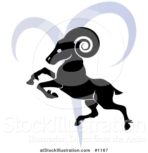 Vector Illustration of a Silhouetted Ram over a Blue Aries Astrological Sign of the Zodiac