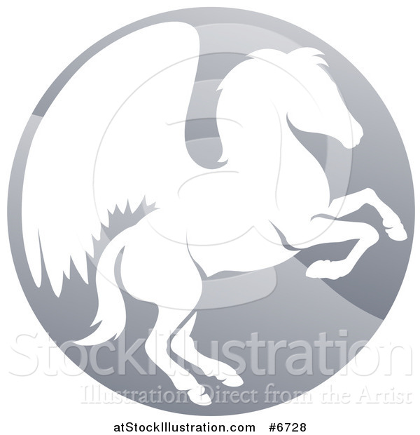 Vector Illustration of a Silhouetted Rearing Pegasus Winged Horse in a Shiny Gray Circle
