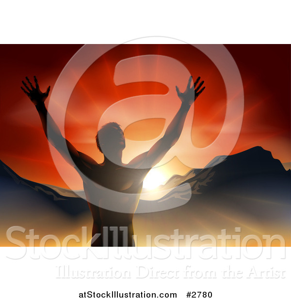 Vector Illustration of a Silhouetted Religious Man Holding His Arms up with Rays and Mountains