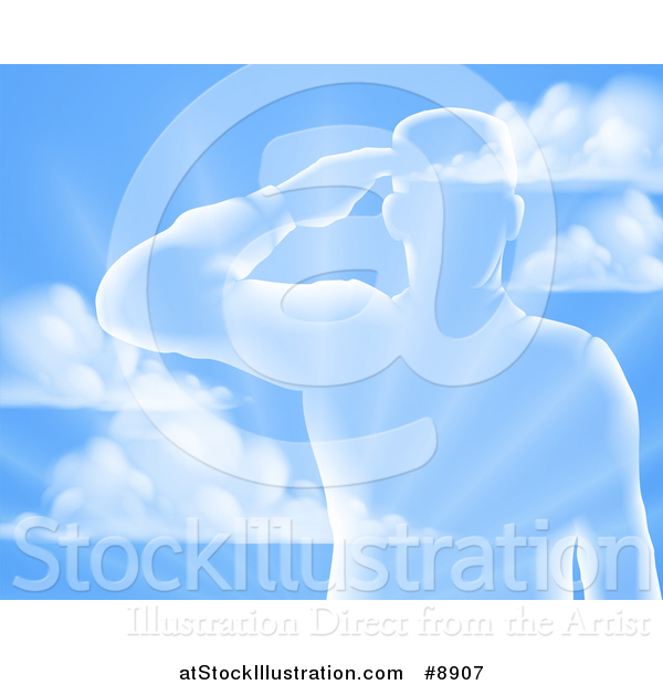 Vector Illustration of a Silhouetted Saluting Soldier over a Blue Sky and Ray Background
