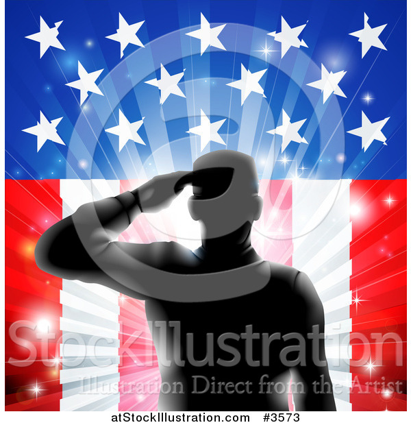 Vector Illustration of a Silhouetted Saluting Soldier over Fireworks and an American Flag