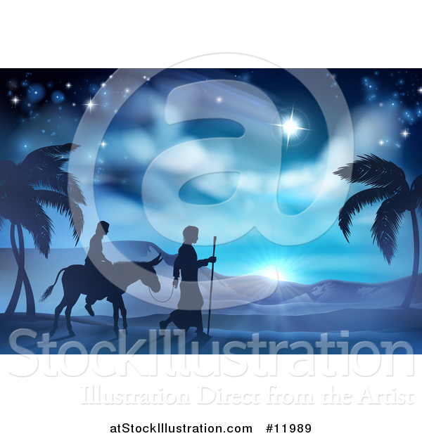 Vector Illustration of a Silhouetted Scene of Mary and Joseph on Their Jouney