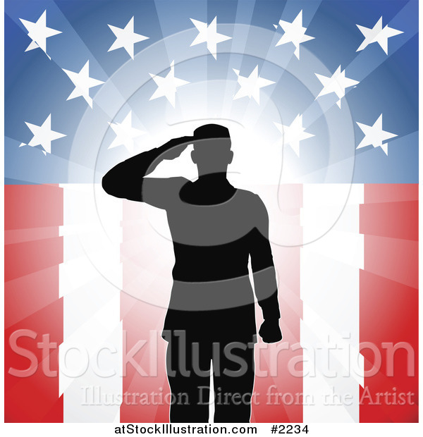 Vector Illustration of a Silhouetted Soldier Saluting over American Flag