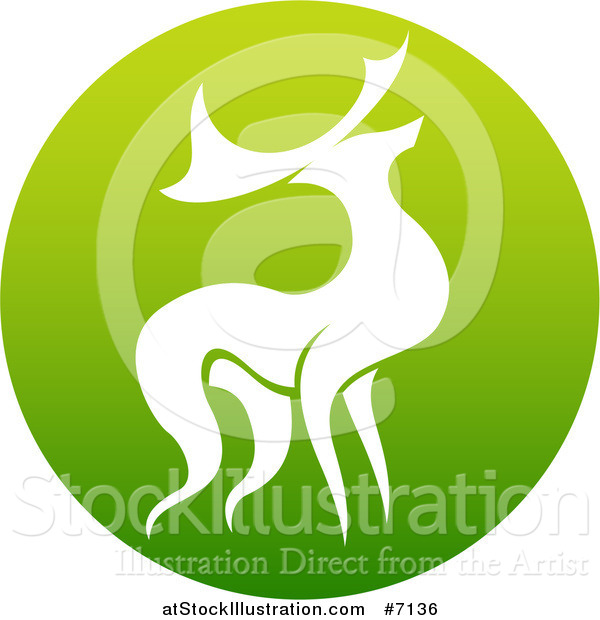 Vector Illustration of a Silhouetted Stag Deer Buck in a Gradient Green Circle