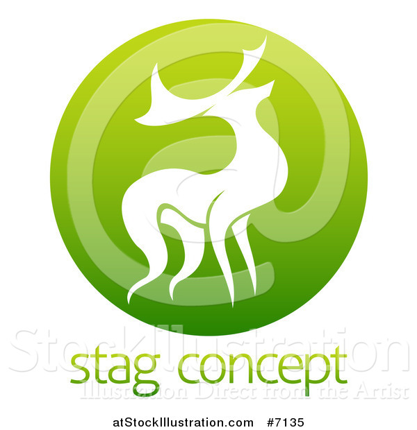 Vector Illustration of a Silhouetted Stag Deer Buck in a Gradient Green Circle over Sample Text