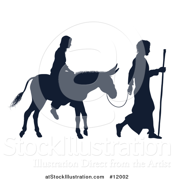 Vector Illustration of a Silhouetted Virgin Mary on a Donkey and Joseph
