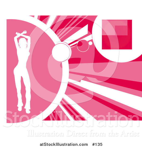 Vector Illustration of a Silhouetted White Woman Dancing on a Pink Background