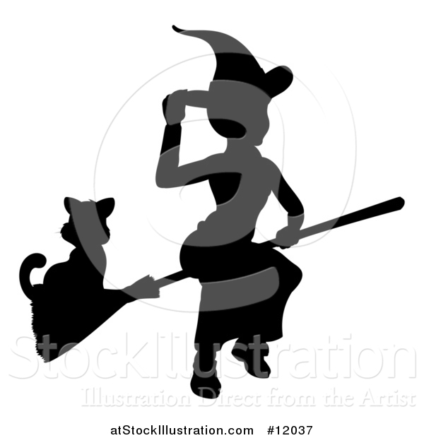 Vector Illustration of a Silhouetted Witch Tipping Her Hat and Flying on a Broomstick with a Cat