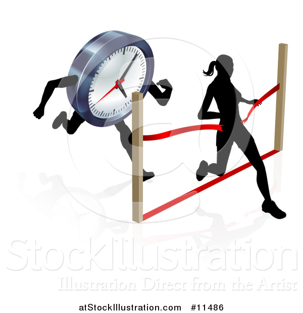 Vector Illustration of a Silhouetted Woman Racing Against the Clock, Running Through a Finish Line