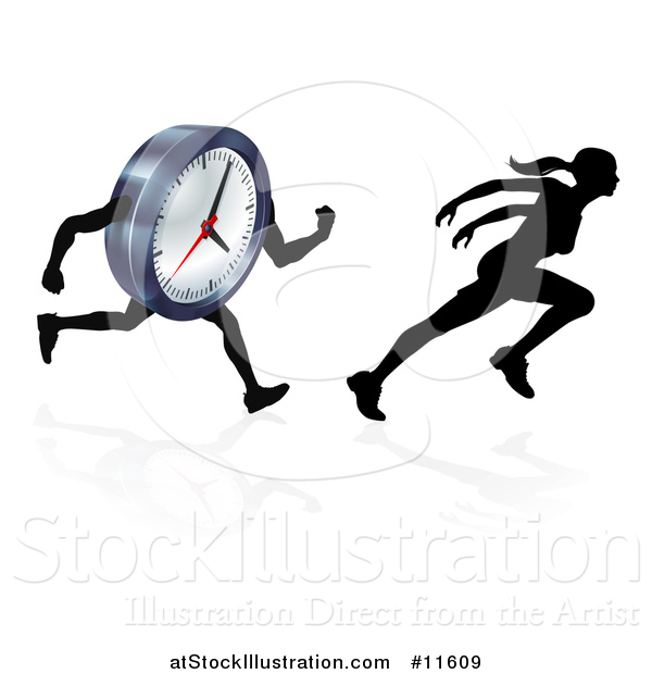 Vector Illustration of a Silhouetted Woman Sprinting and Racing a Clock Character