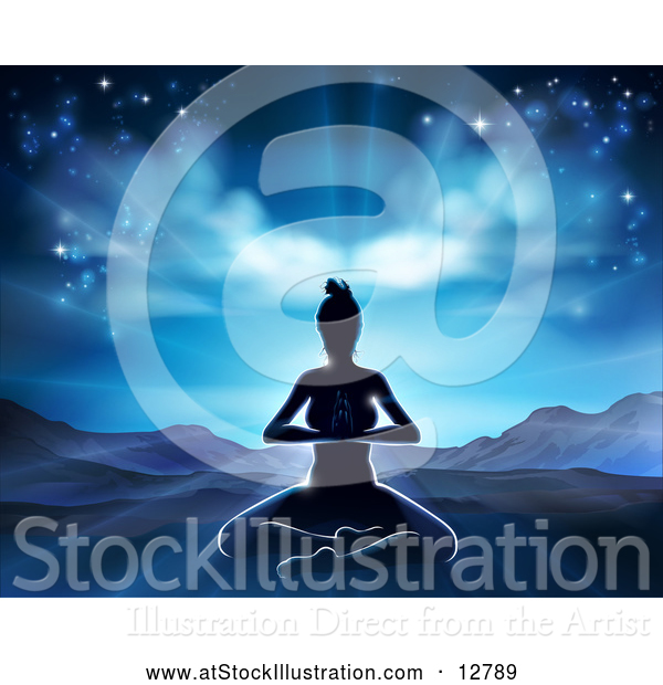 Vector Illustration of a Silhouetted Yoga Woman in a Beautiful Mountainous Sunrise Scene