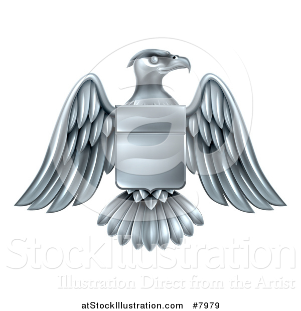 Vector Illustration of a Silver Heraldic Coat of Arms American Bald Eagle with a Shield