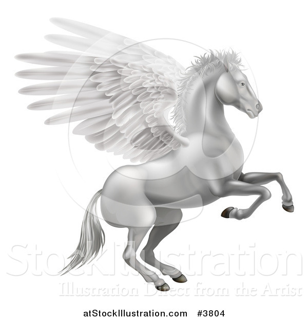 Vector Illustration of a Silver Winged Pegasus Horse Rearing