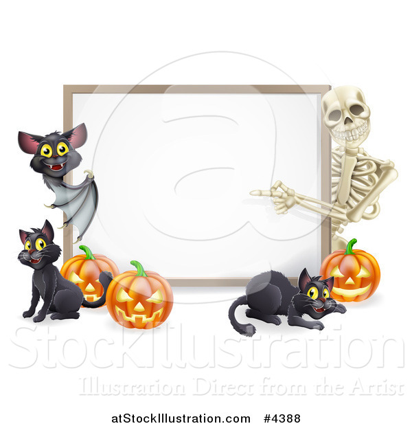 Vector Illustration of a Skeleton and Bat Pointing to a Halloween Sign with Black Cats and Pumpkins