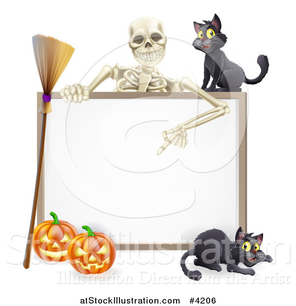 Vector Illustration of a Skeleton Pointing down to a Halloween Sign with Black Cats a Broomstick and Pumpkins