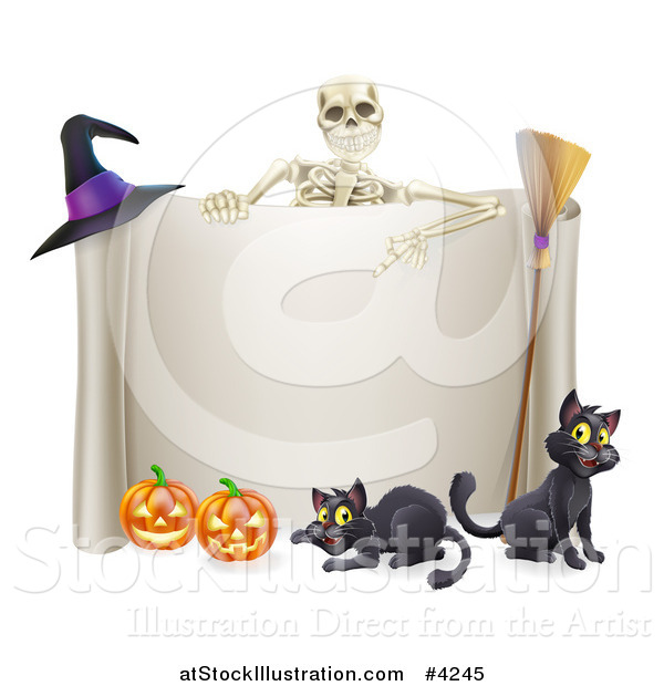 Vector Illustration of a Skeleton Pointing down to a Halloween Sign with Black Cats a Broomstick Witch Hat and and Pumpkins