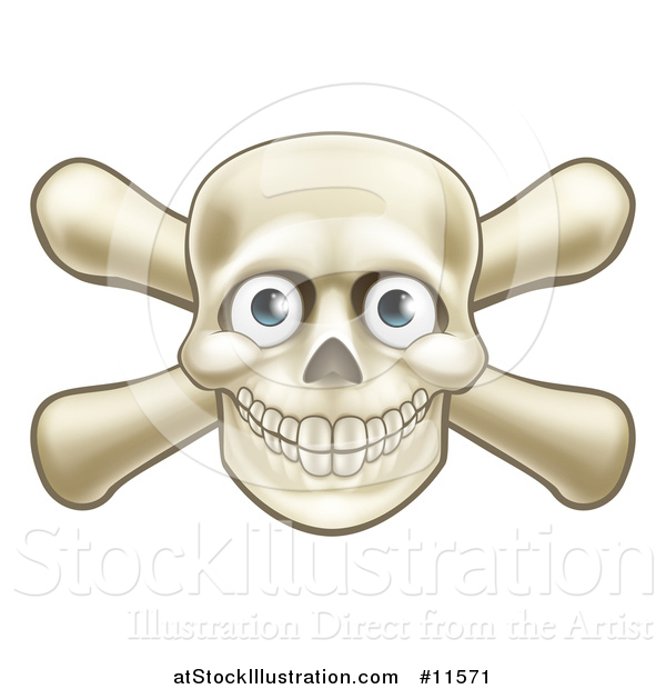 Vector Illustration of a Skull and Crossbones with Eyes