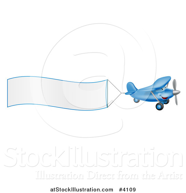 Vector Illustration of a Small Blue Airplane with a Trailing Blank Banner