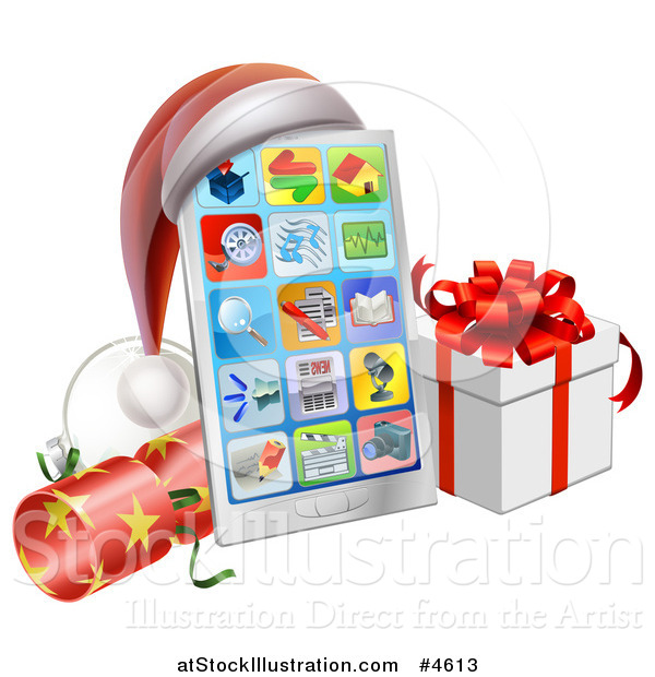 Vector Illustration of a Smart Phone with a Santa Hat, Christmas Cracker and Gift Box