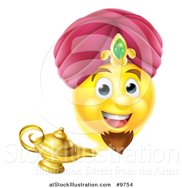 Vector Illustration of a Smiley Emoji Emoticon Genie Emerging from a Lamp