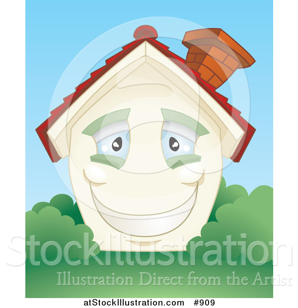 Vector Illustration of a Smiling Happy Blue Eyed Home with a Brick Chimney and Green Shutters, Surrounded by Lush Green Grass and Bushes