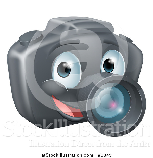 Vector Illustration of a Smiling Happy DSLR Camera Mascot