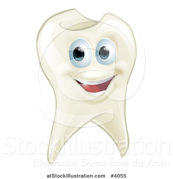 Vector Illustration of a Smiling Happy Tooth Mascot