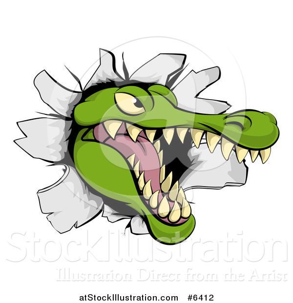 Vector Illustration of a Snapping Alligator or Crocodile Head Breaking Through a Wall
