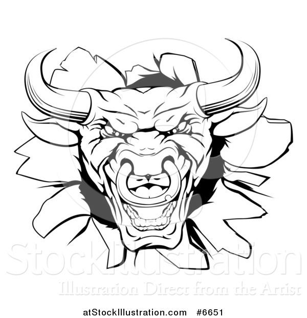 Vector Illustration of a Snarling Aggressive Black and White Bull Breaking Through a Wall