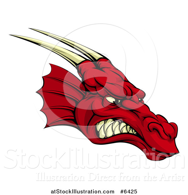 Vector Illustration of a Snarling Angry Red Dragon Head with Horns