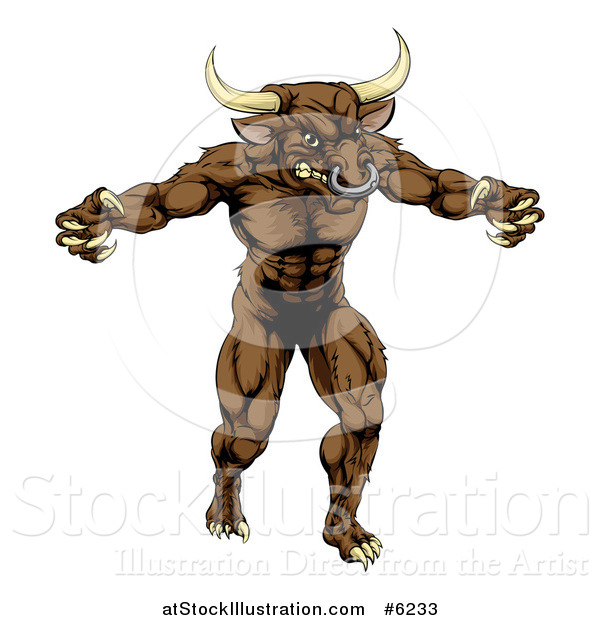 Vector Illustration of a Snarling Brown Bull Man Minotaur Monster Mascot Attacking