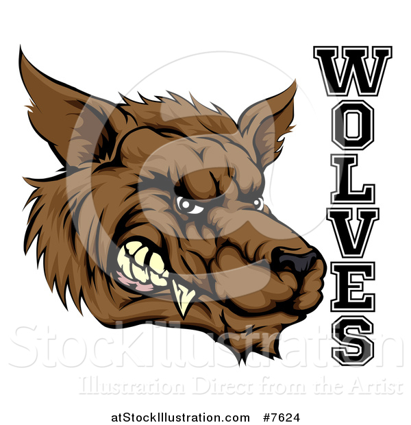 Vector Illustration of a Snarling Brown Wolf Mascot Head and Text