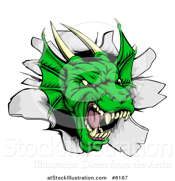 Vector Illustration of a Snarling Fierce Green Dragon Mascot Head Breaking Through a Wall