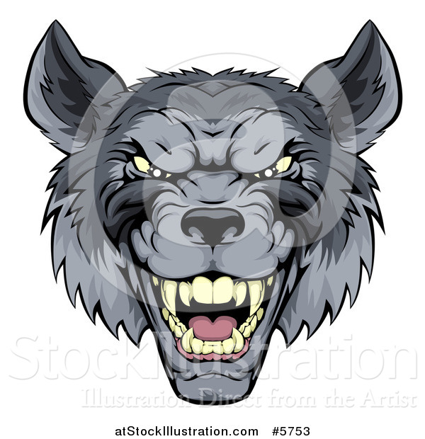 Vector Illustration of a Snarling Gray Wolf Mascot Head