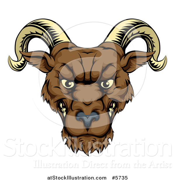 Vector Illustration of a Snarling Ram Head