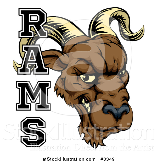 Vector Illustration of a Snarling Ram Head Mascot with Text