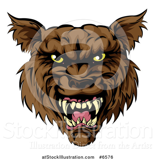 Vector Illustration of a Snarling Vicious Brown Wolf Mascot Head