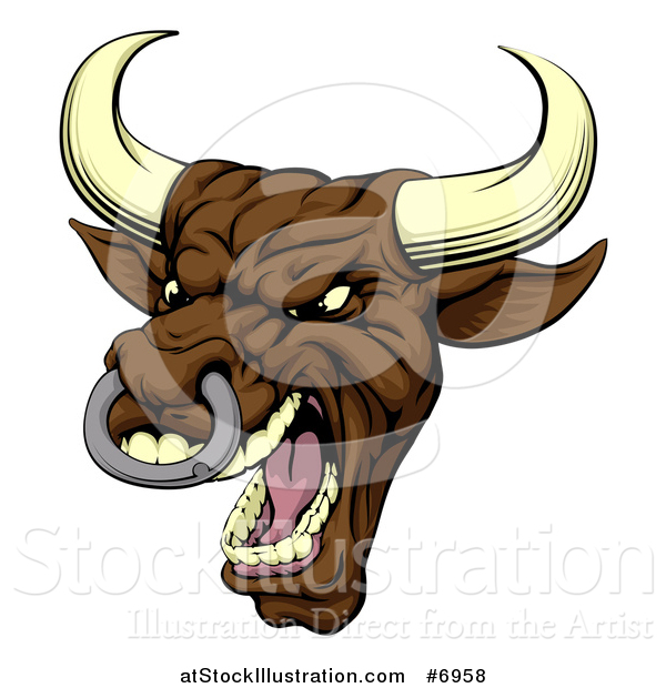 Vector Illustration of a Snarling Vicious Mad Brown Bull Mascot Head