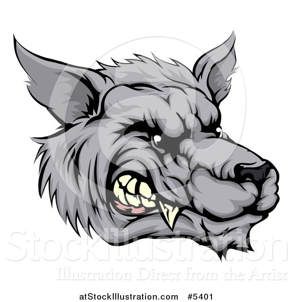Vector Illustration of a Snarling Vicious Wolf Face