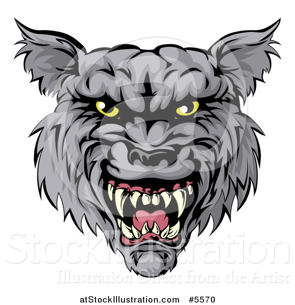 Vector Illustration of a Snarling Wolf Mascot Head