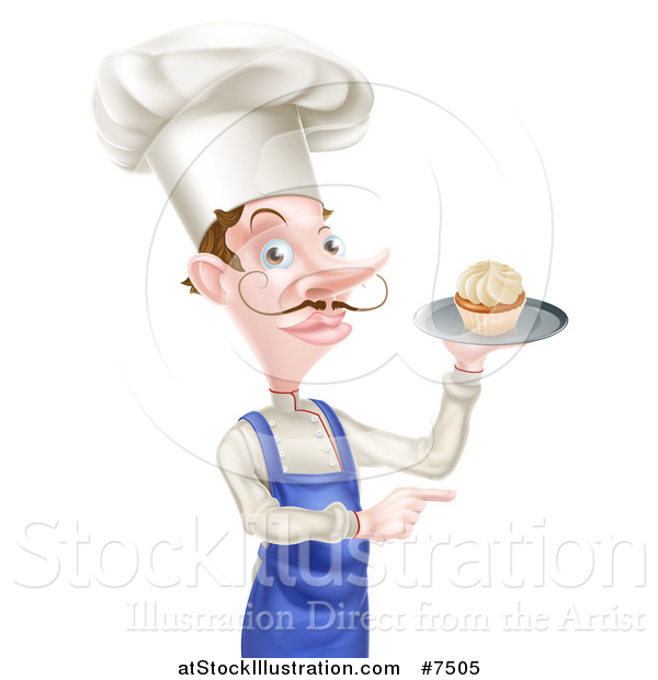 Vector Illustration of a Snooty White Male Chef with a Curling Mustache, Holding a Cupcake on a Tray and Pointing to the Right