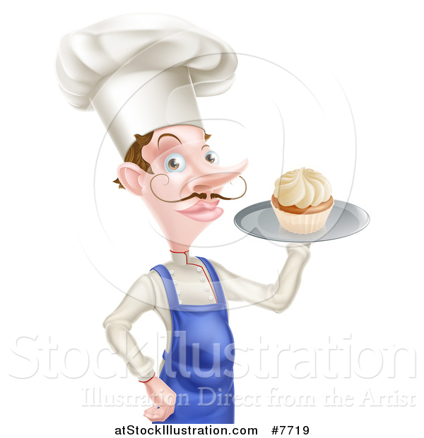 Vector Illustration of a Snooty White Male Chef with a Curling Mustache, Holding a Cupcake on a Tray