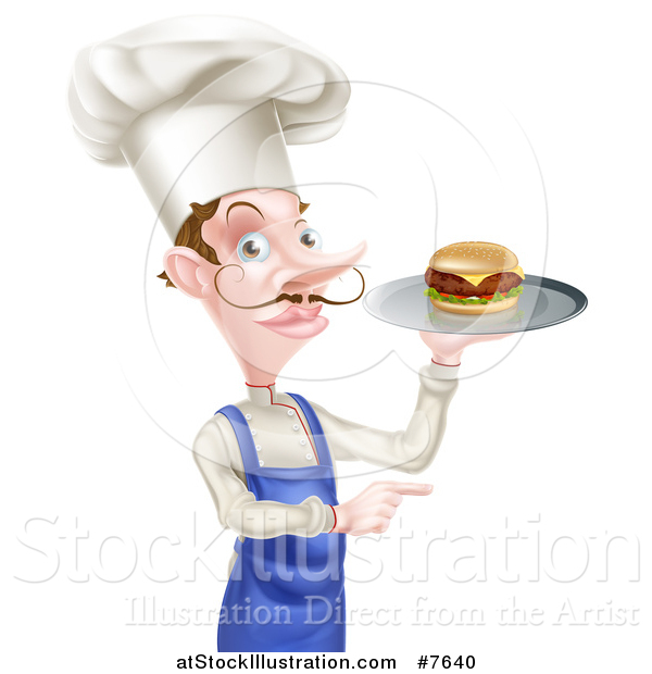 Vector Illustration of a Snooty White Male Chef with a Curling Mustache, Holding a Gourmet Cheeseburger on a Tray and Pointing